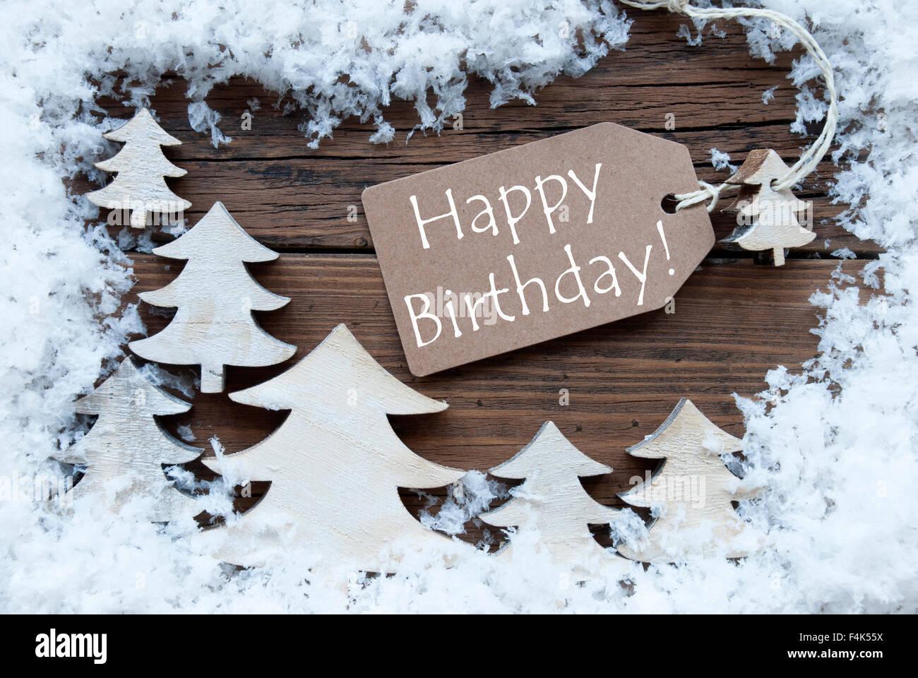 Beschriften Sie Weihnachtsbaume Und Schnee Alles Gute Zum Geburtstag