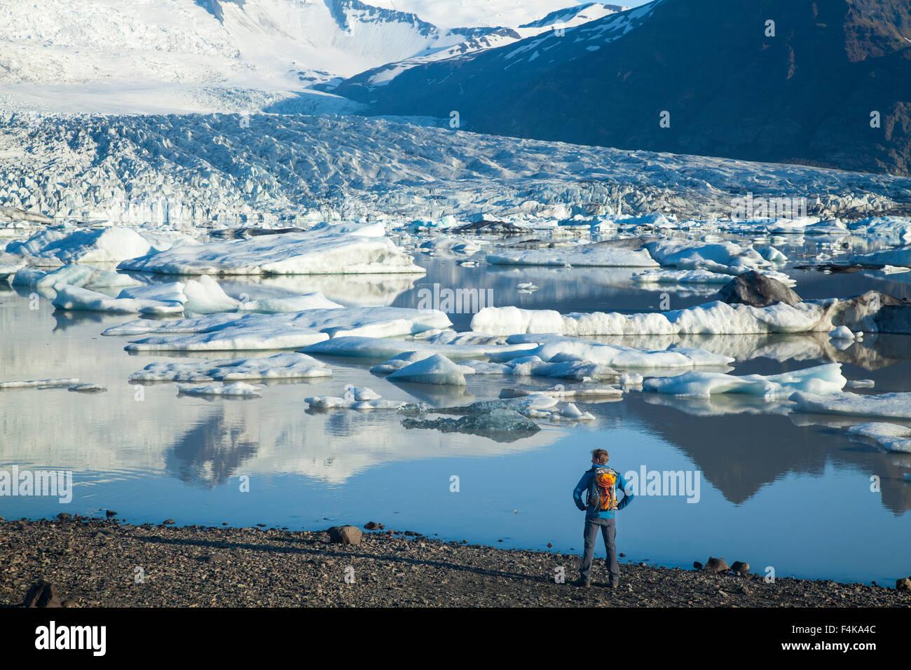 Person neben Fjallsarlon Eisberg Lagune, unter Fjallsjokull Gletscher. Vatnajökull National Park, Sudhurland, Stockbild