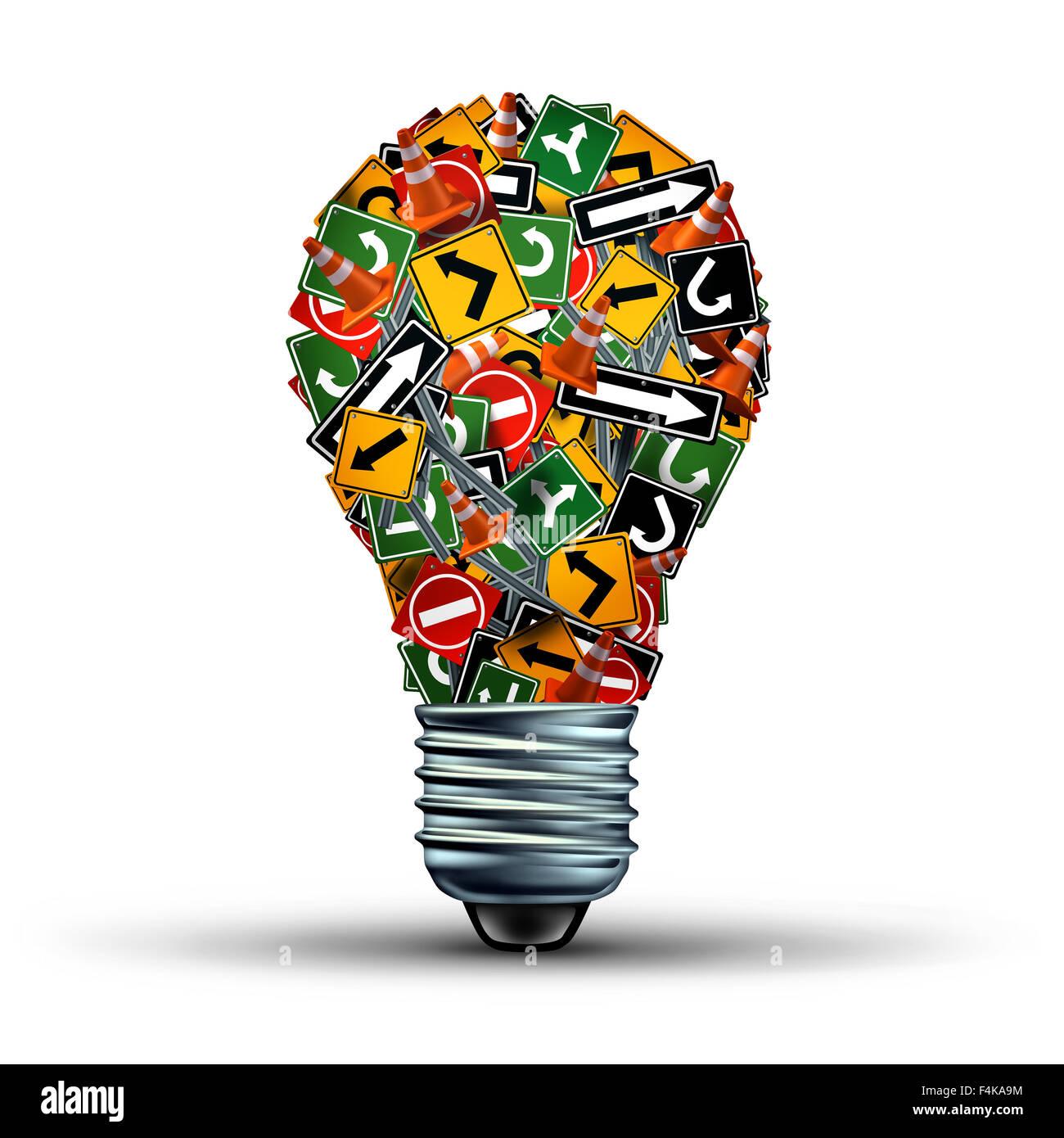 Kreative Beratung Konzept und Ideen Richtung wie ein Business-Symbol mit einer Gruppe von Autobahn und Straßenschilder Stockbild