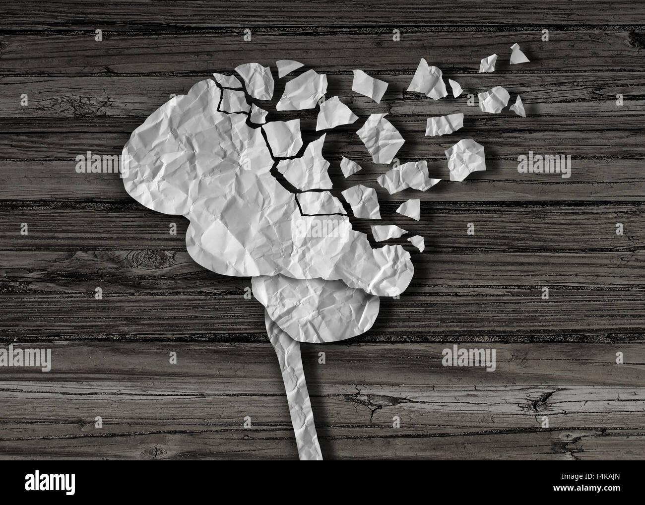 Demenz oder Hirnschäden und Verletzungen als psychische Gesundheit und Neurologie medizinische Symbol mit einem Stockbild