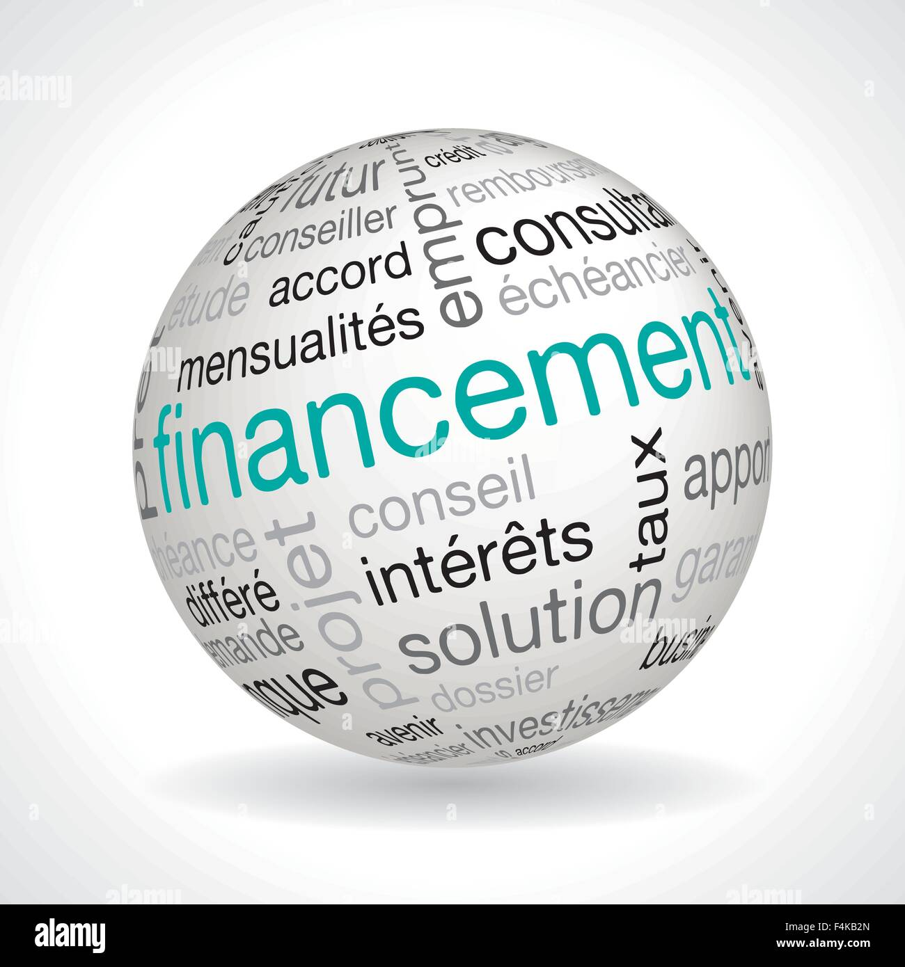 """Französisch """"Finanzierung"""" Kugel mit keywords Stockbild"""