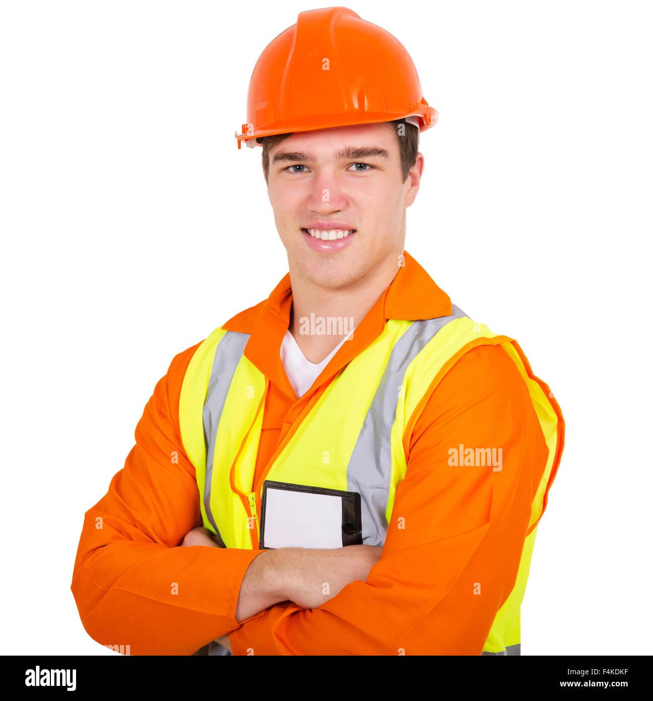 Porträt von Bauarbeiter mit verschränkten Armen Stockbild