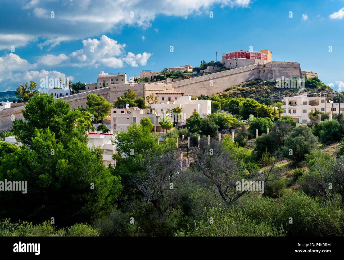 Ansicht von Dalt Vila von Ibiza, Spanien Stockbild