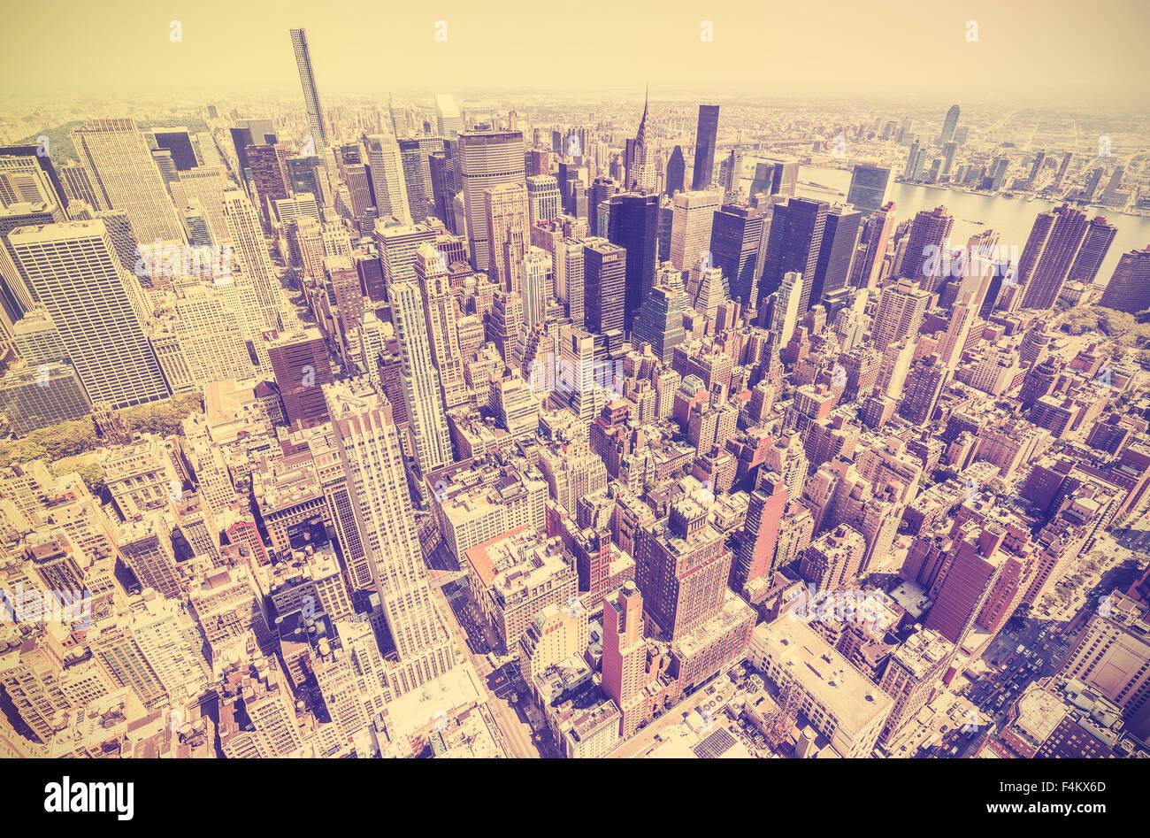 Vintage Retro getönten Blick auf Manhattan, New York City, USA Stockbild