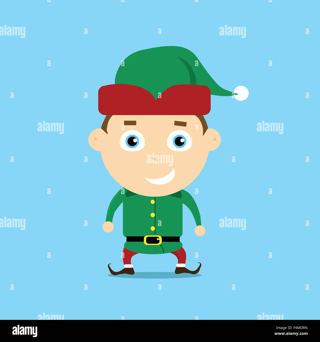 Christmas Elf Cartoon Charakter Santa Helfer Stockbild