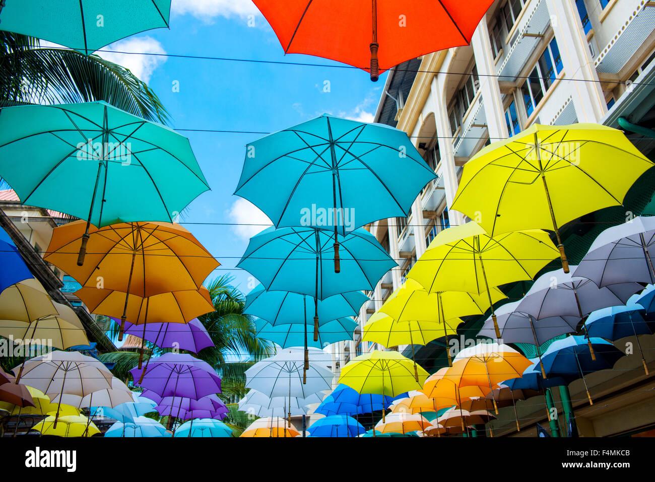 Schirme in Port Louis, Mauritius Stockbild