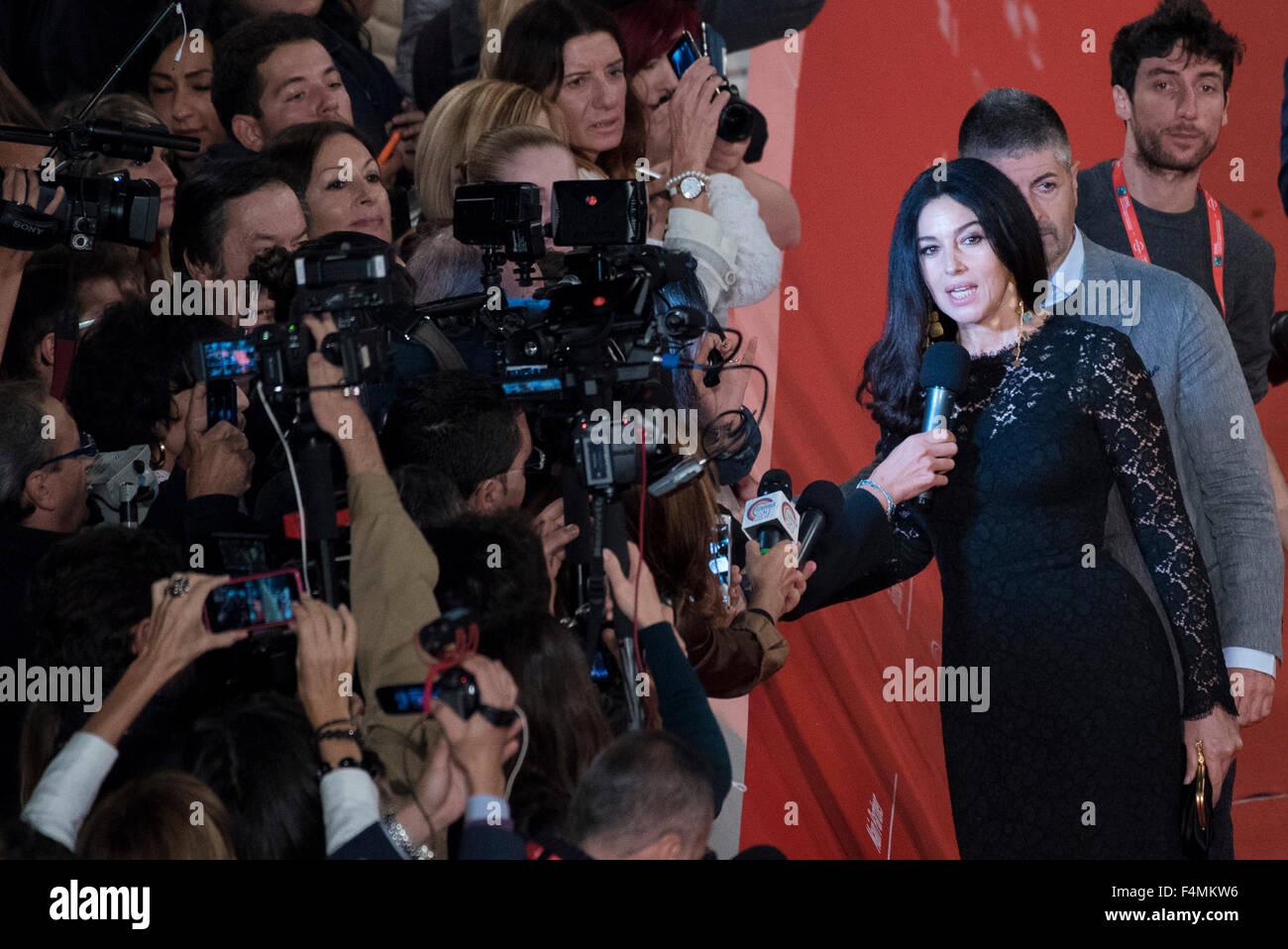 """Rom, Italien. 20. Oktober 2015. Monica Bellucci besucht einen roter Teppich für """"Ville-Marie"""" während Stockbild"""