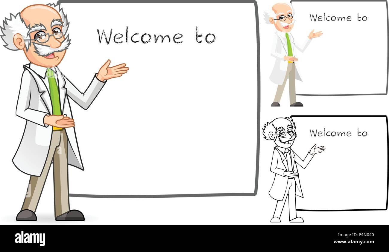 Wissenschaftler-Cartoon-Figur mit einladenden Arme Stockbild
