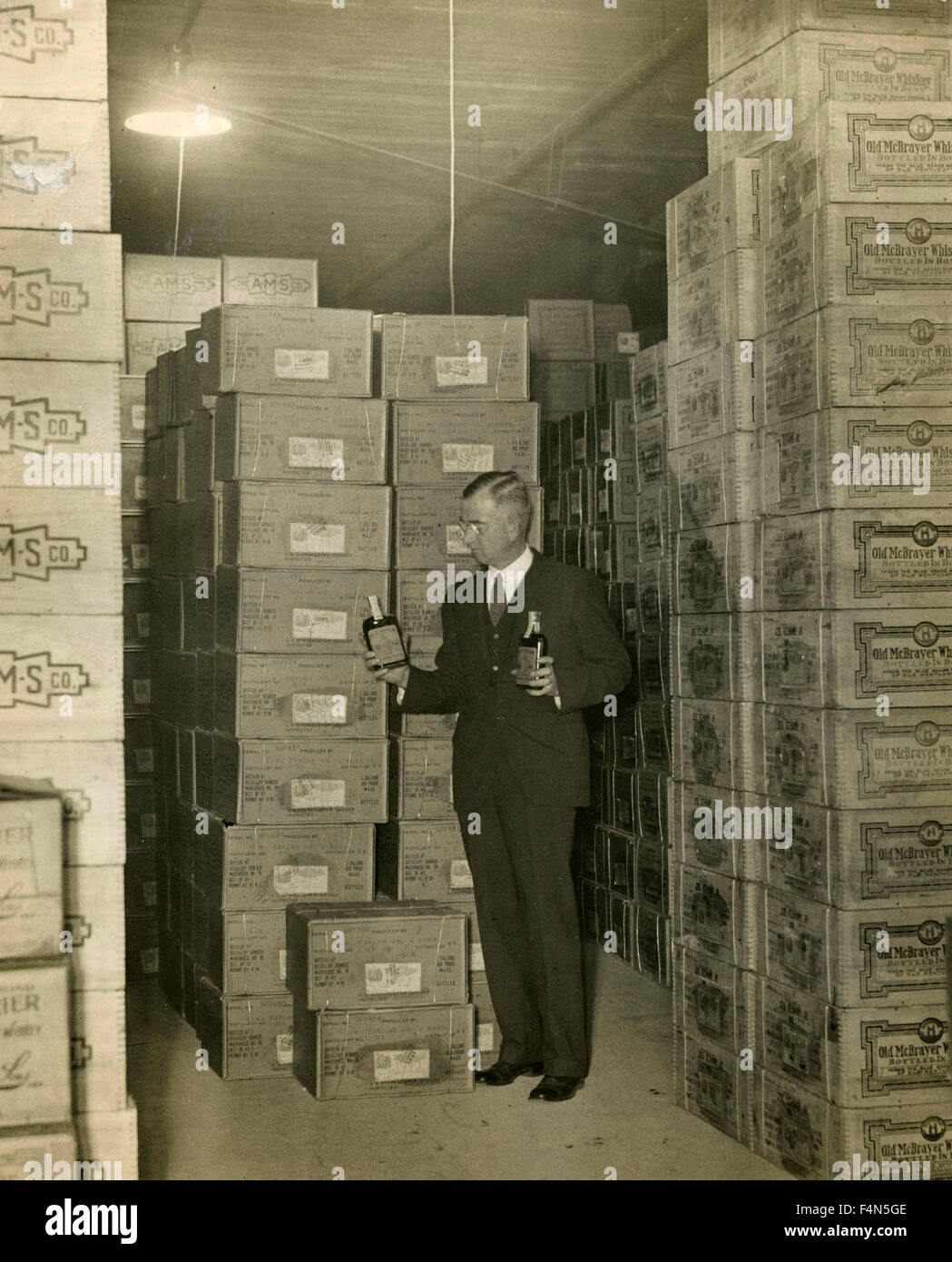 Boxen für das Verbot von Alkohol gespeichert, Chicago, USA Stockbild