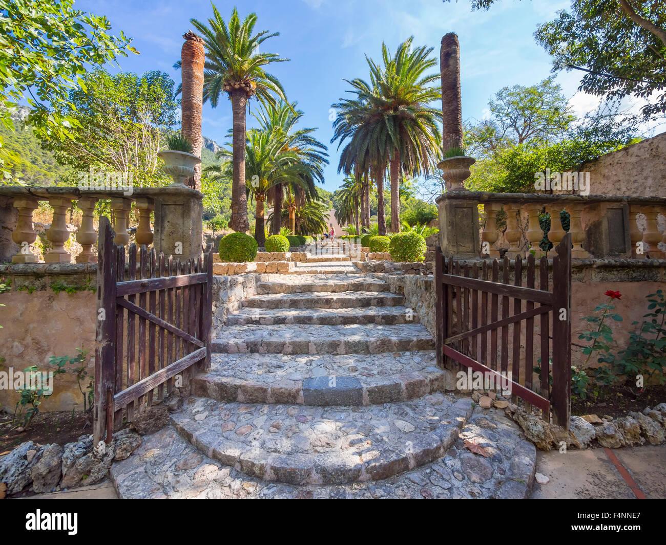 Eingang, Jardines de Alfabia, Arabische Gärten, Serra de Alfàbia, Mallorca, Spanien Stockbild