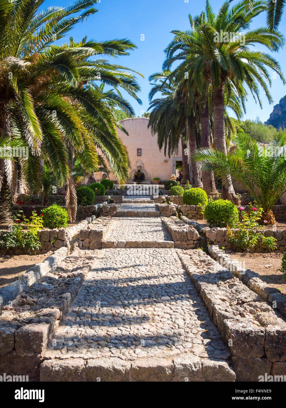 Jardines de Alfabia, Herrenhaus mit arabischen Gärten, Serra de Alfàbia, Mallorca, Spanien Stockbild