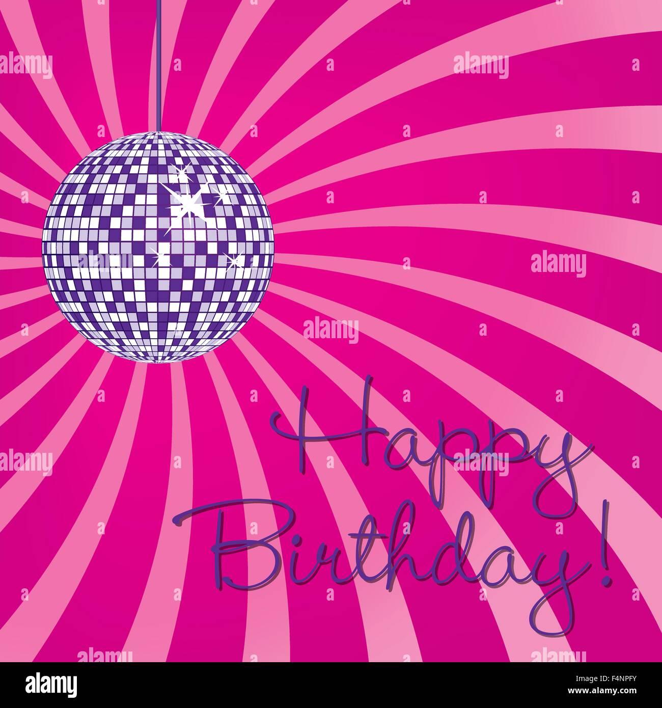 Disco Kugel Happy Birthday Card Im Vektor Format
