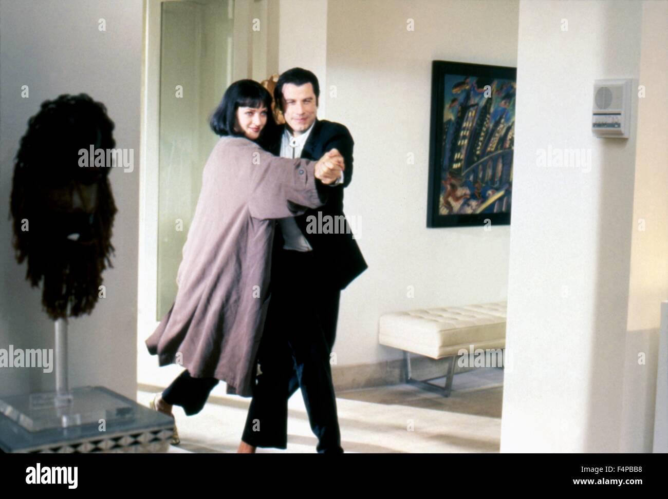Uma Thurman, John Travolta / Pulp Fiction 1994 unter der Regie von Quentin Tarantino Stockbild