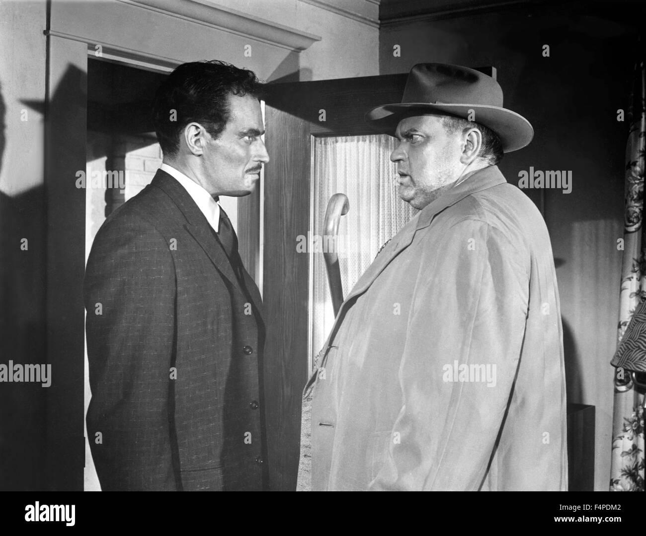 Charlton Heston, Orson Welles / Touch Of Evil 1958 unter der Regie von Orson Welles Stockbild