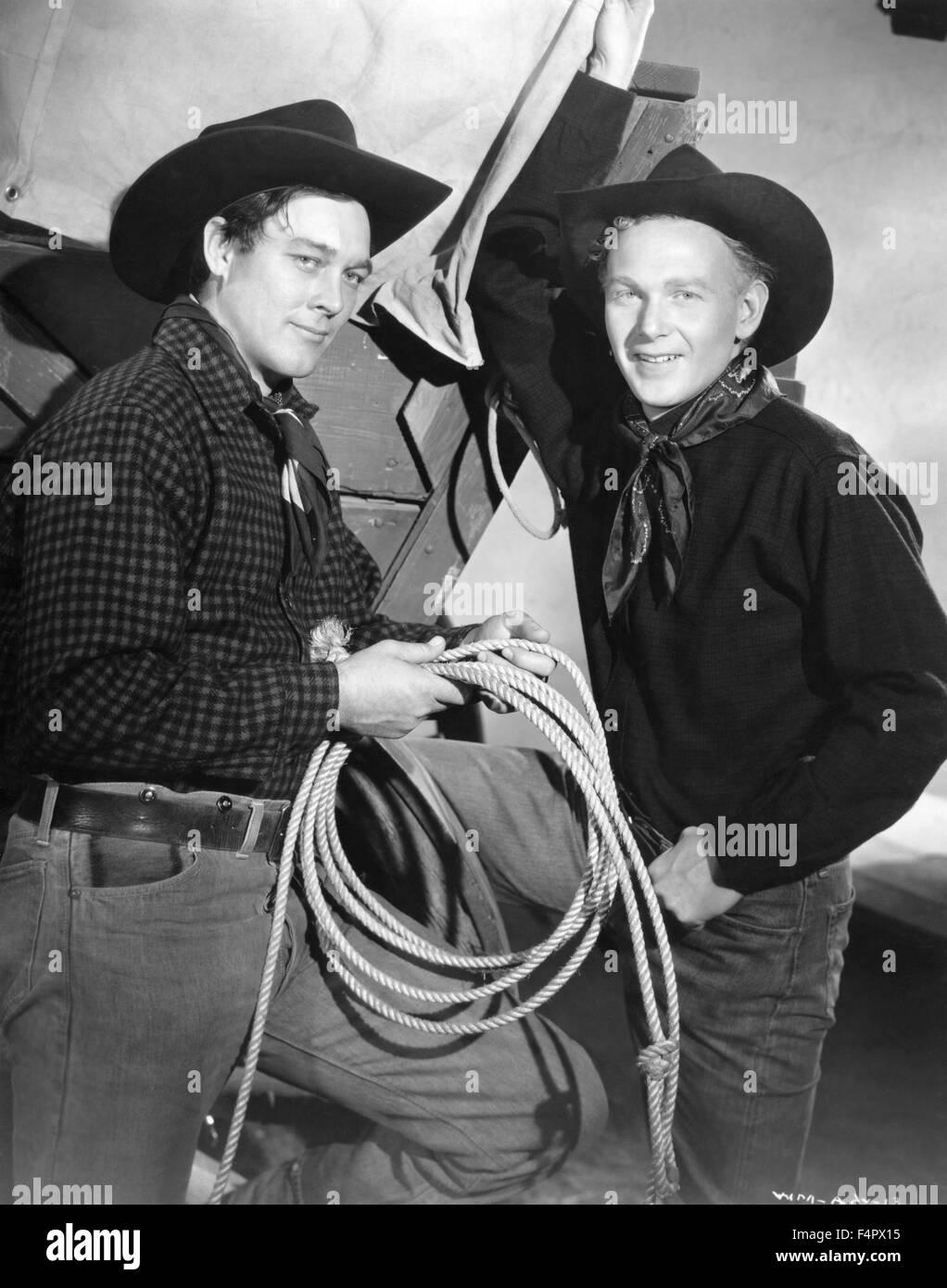 Ben Johnson und Harry Carey Jr. / Wagon Master / 1950 unter der Regie von John Ford [Argosy Bilder / RKO Radio Pict] Stockbild
