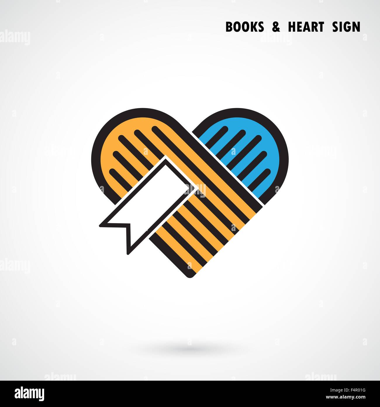 Herz und Kreativbuch abstrakte Logo-Design. Buchhandlung und ...