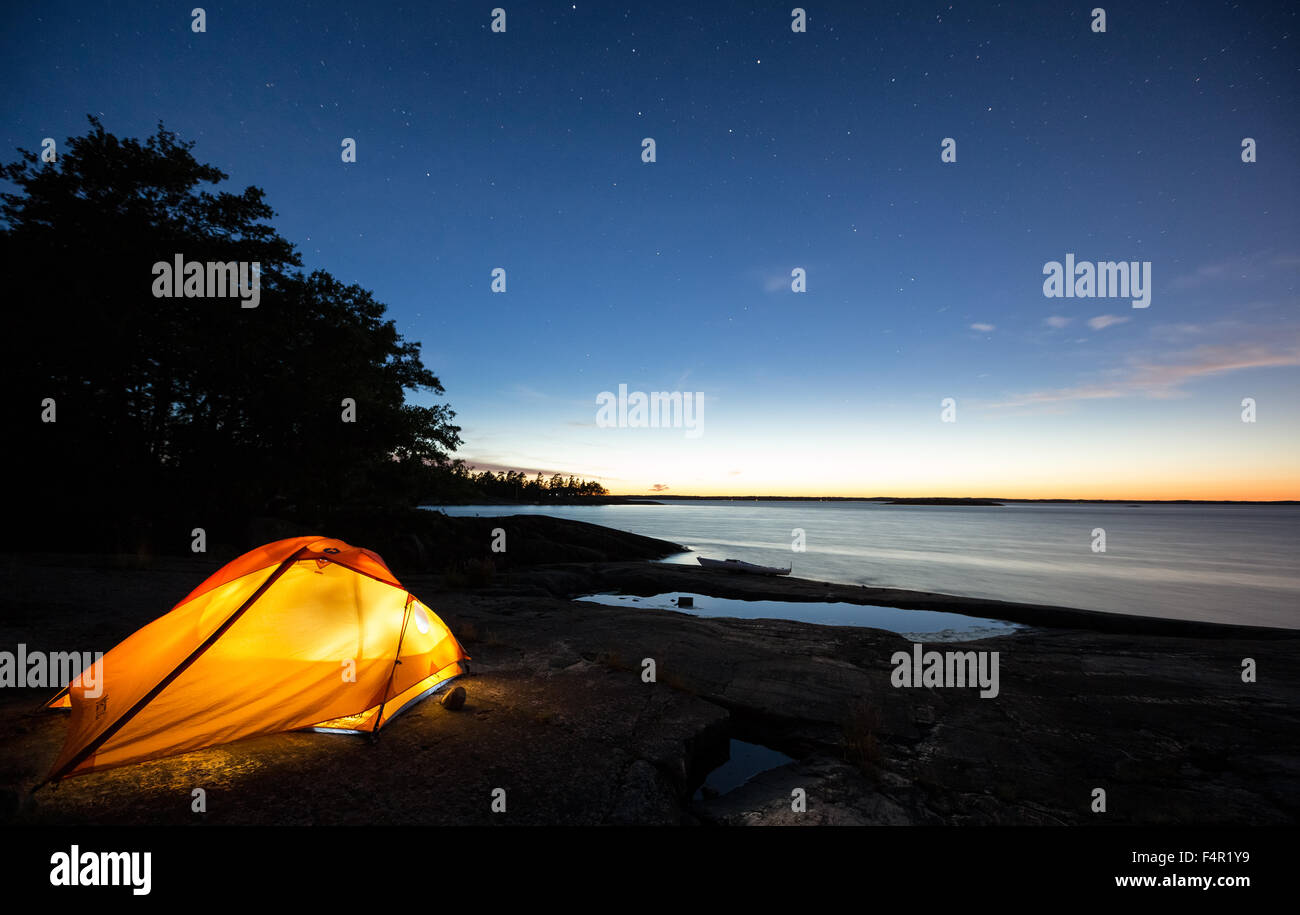 Sonnenuntergang am Bylandet Insel, Kirkkonummi, Finnland, Europa, EU Stockbild