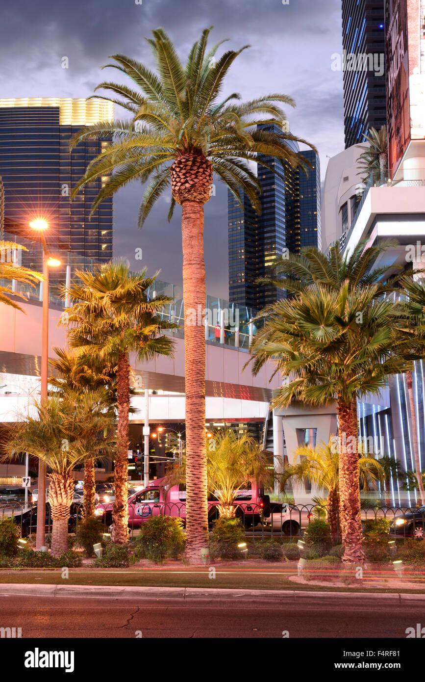 USA, Nevada, Las Vegas, den Streifen in der Nacht Stockfoto