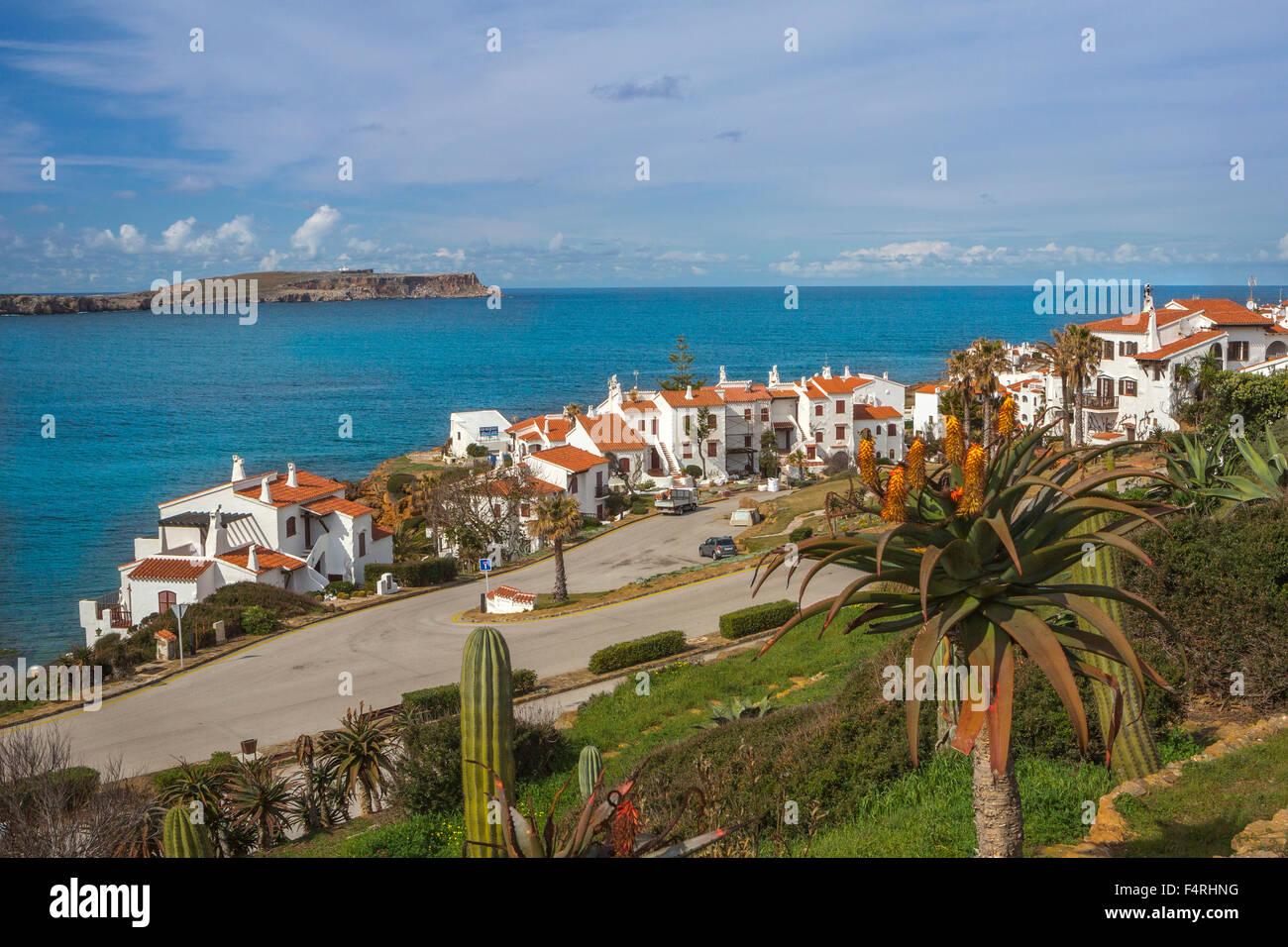 Fornells, Menorca, Balearen, Spanien, Europa, Frühling, Landschaft, Architektur, Balearen, bunt, mediterran, Stockbild