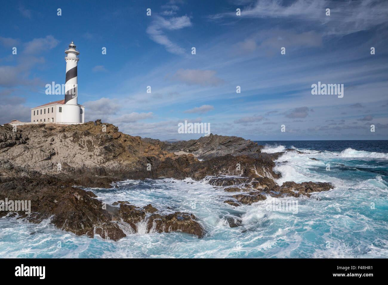 Balearen, Favaritx, Landschaft, Menorca, Balearen, Spanien, Europa, Frühling, Architektur, Insel, Leuchtturm, Stockbild