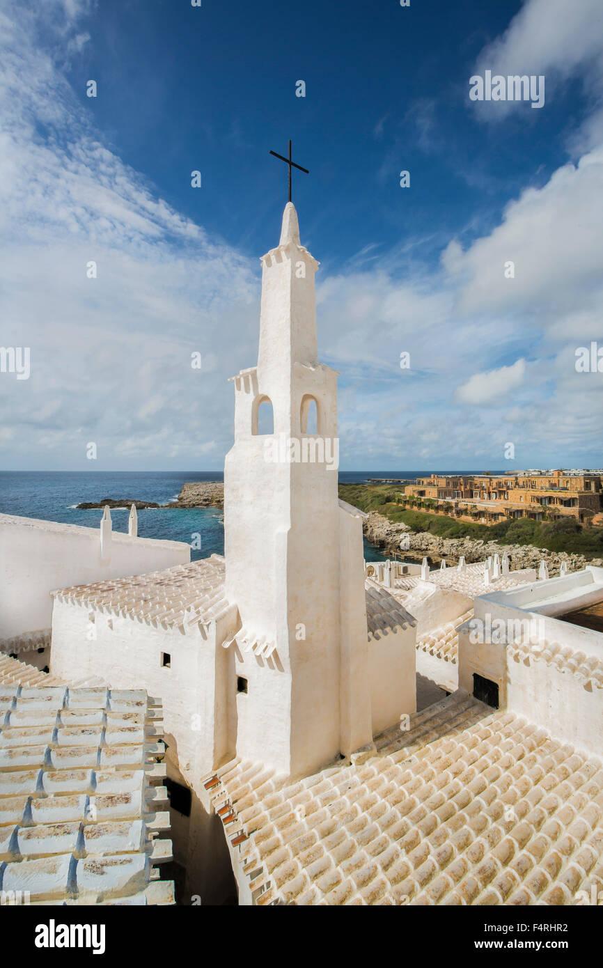 Balearen, Binibeca, Fischerdorf, Menorca, Insel, alte Binibeca, Spanien, Europa, Frühling, Architektur, Glockenturm, Stockfoto