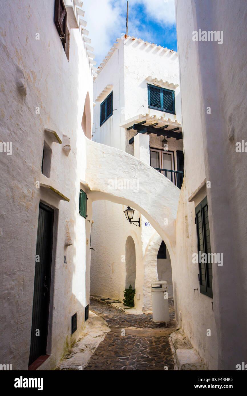 Balearen, Binibeca, Fischerdorf, Menorca, Insel, alte Binibeca, Spanien, Europa, Frühling, Arch, Architektur, Stockbild