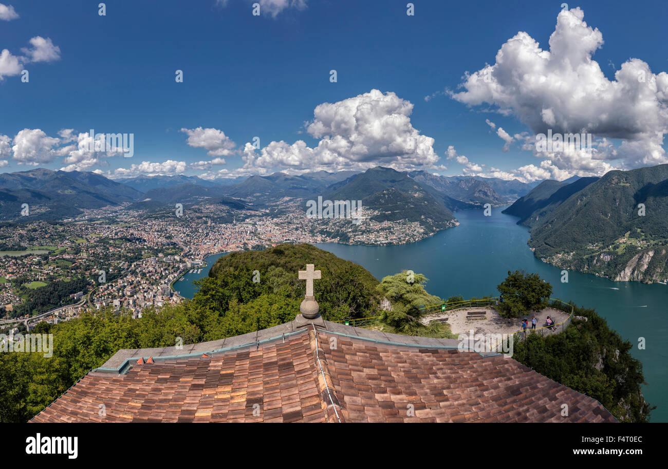 Lugano, Ticino, Schweiz, Europa, Panorama Blick, Monte San Salvatore, Landschaft, Wasser, Sommer, Berge, See, Menschen, Stockbild