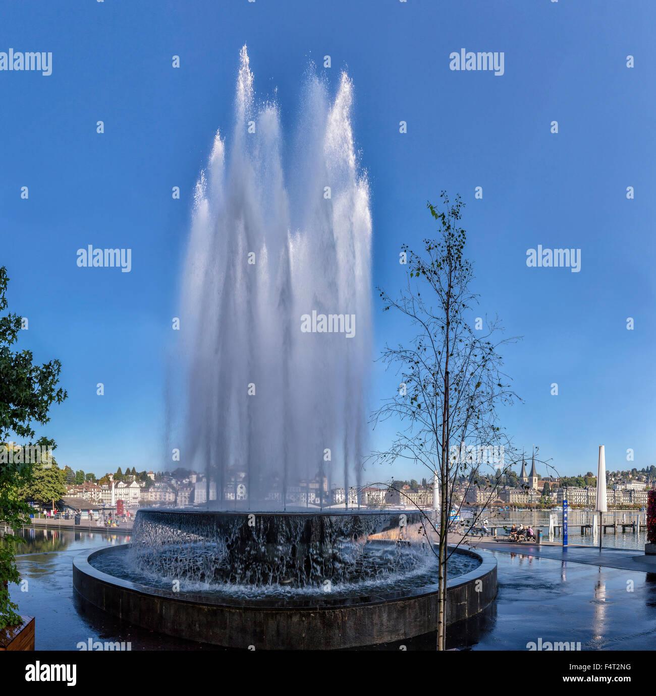 Schweiz, Europa, Luzern, Luzern, Brunnen, Kultur - Und Kongresszentrum, Stadt, Wasser, Sommer, KKL, Stockbild