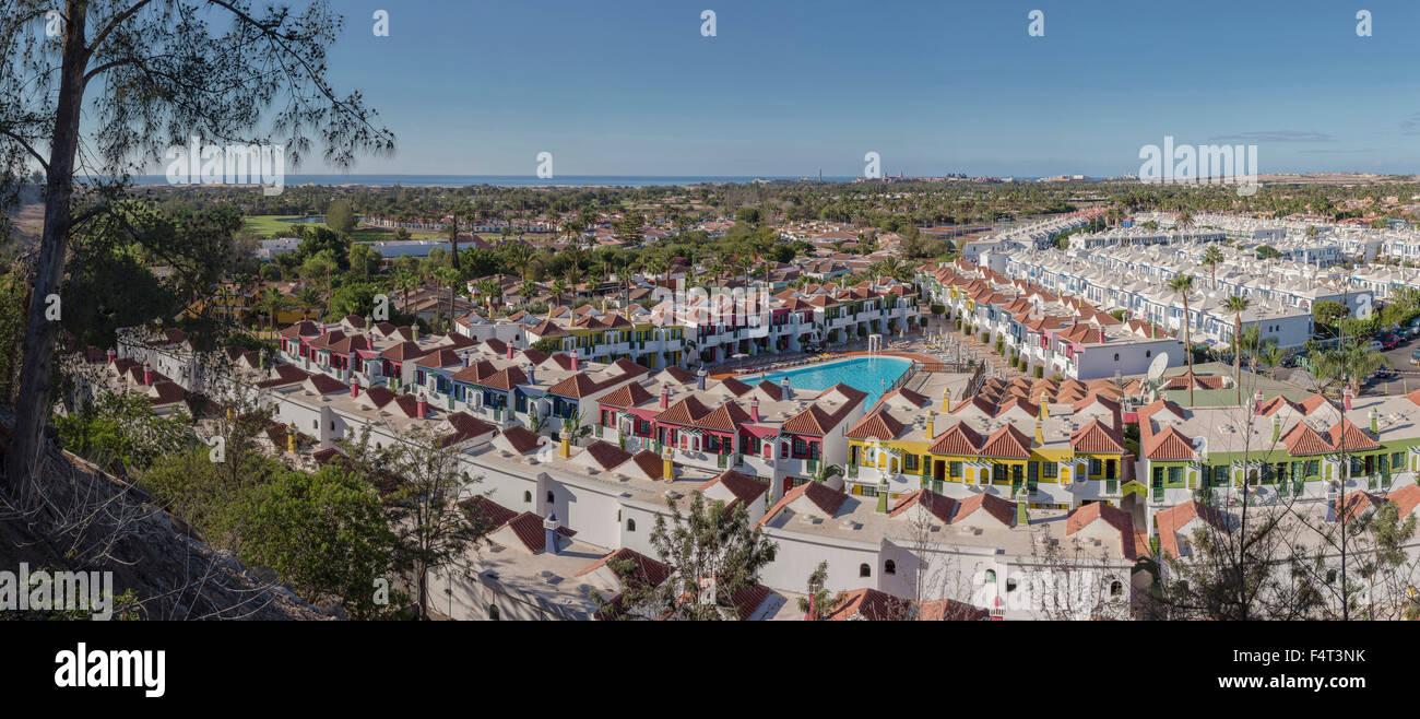 Spanien, Europa, Maspalomas, Gran Canaria, Kanarische Inseln, Campo Internacional, Stadt, Dorf, Sommer, Stockbild