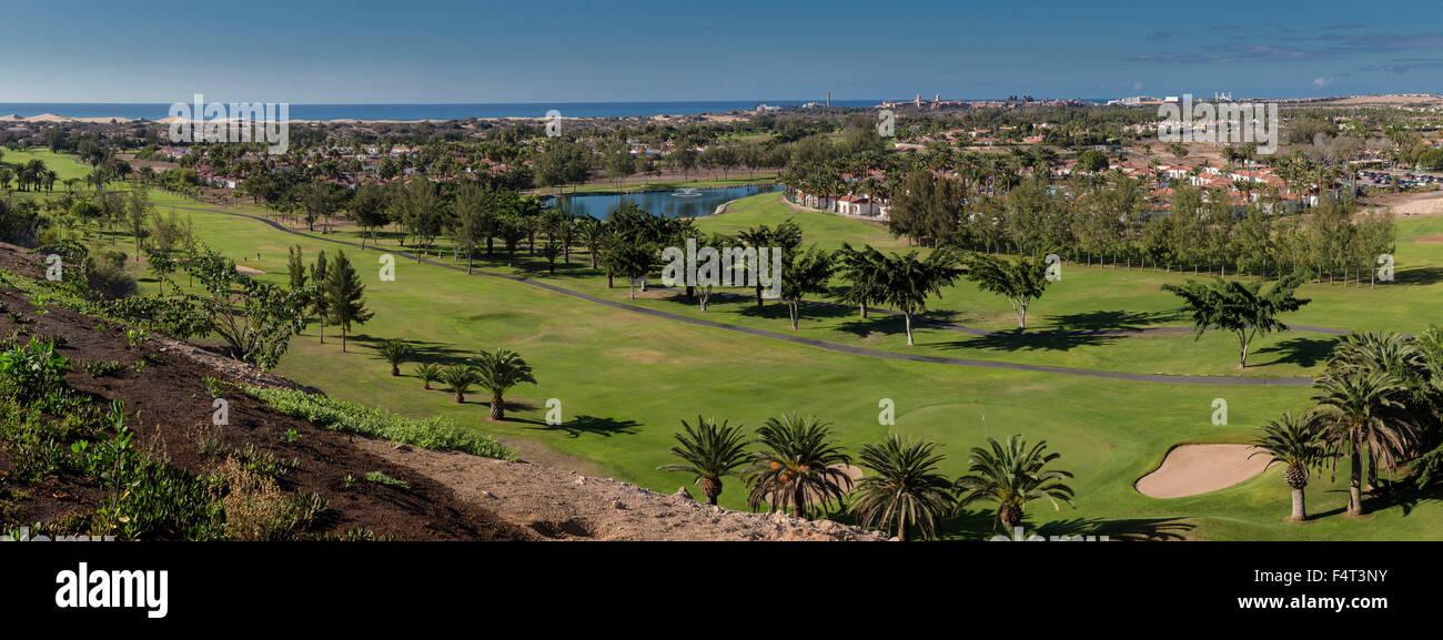 Spanien, Europa, Maspalomas, Gran Canaria, Kanarische Inseln, Maspalomas, Golf, Landschaft, Feld, Wiese, Sommer, Stockbild