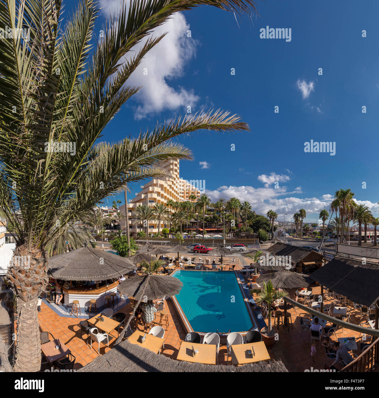 Spanien, Europa, Playa del Ingles, Gran Canaria, Kanarische Inseln, Paseo Costa Canario, Stadt, Dorf, Pool, Terrasse, Stockbild