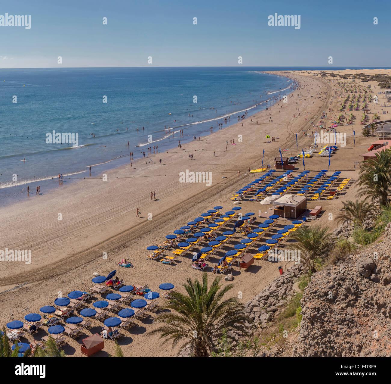 Spanien, Europa, Playa del Ingles, Gran Canaria, Kanaren, Playa de Las Burras, Sommer, Strand, Meer, Menschen, Landschaft, Stockbild