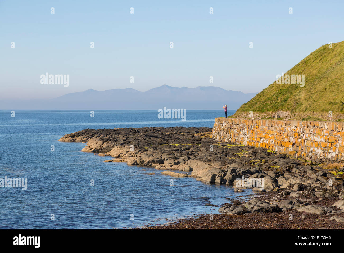 Wandern auf dem Ayrshire Coastal Path, Troon, Schottland, Großbritannien Stockfoto