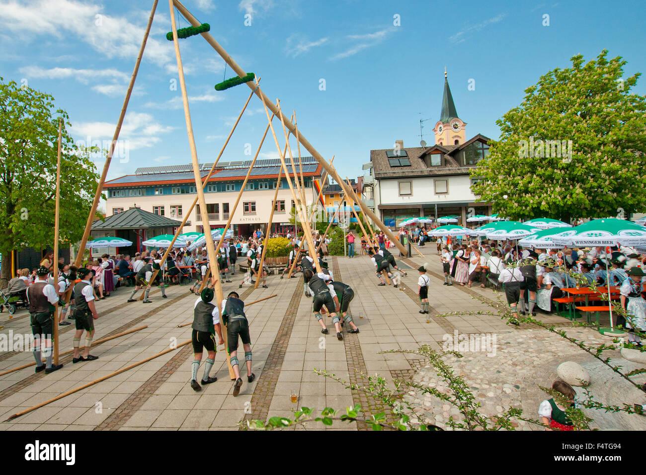 Deutschland, Bayern, Upper Bavaria, Brauch, Tradition, Teisendorf, Marktplatz, Berchtesgadener Land, Sitten, Mai, Stockbild