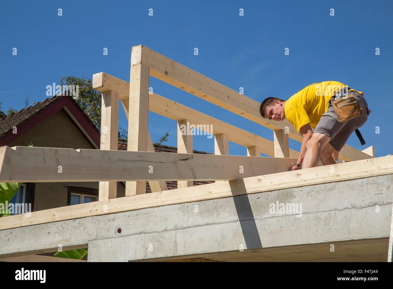 Holz-Rahmenkonstruktion, hölzerne Gebäude, Stockbild
