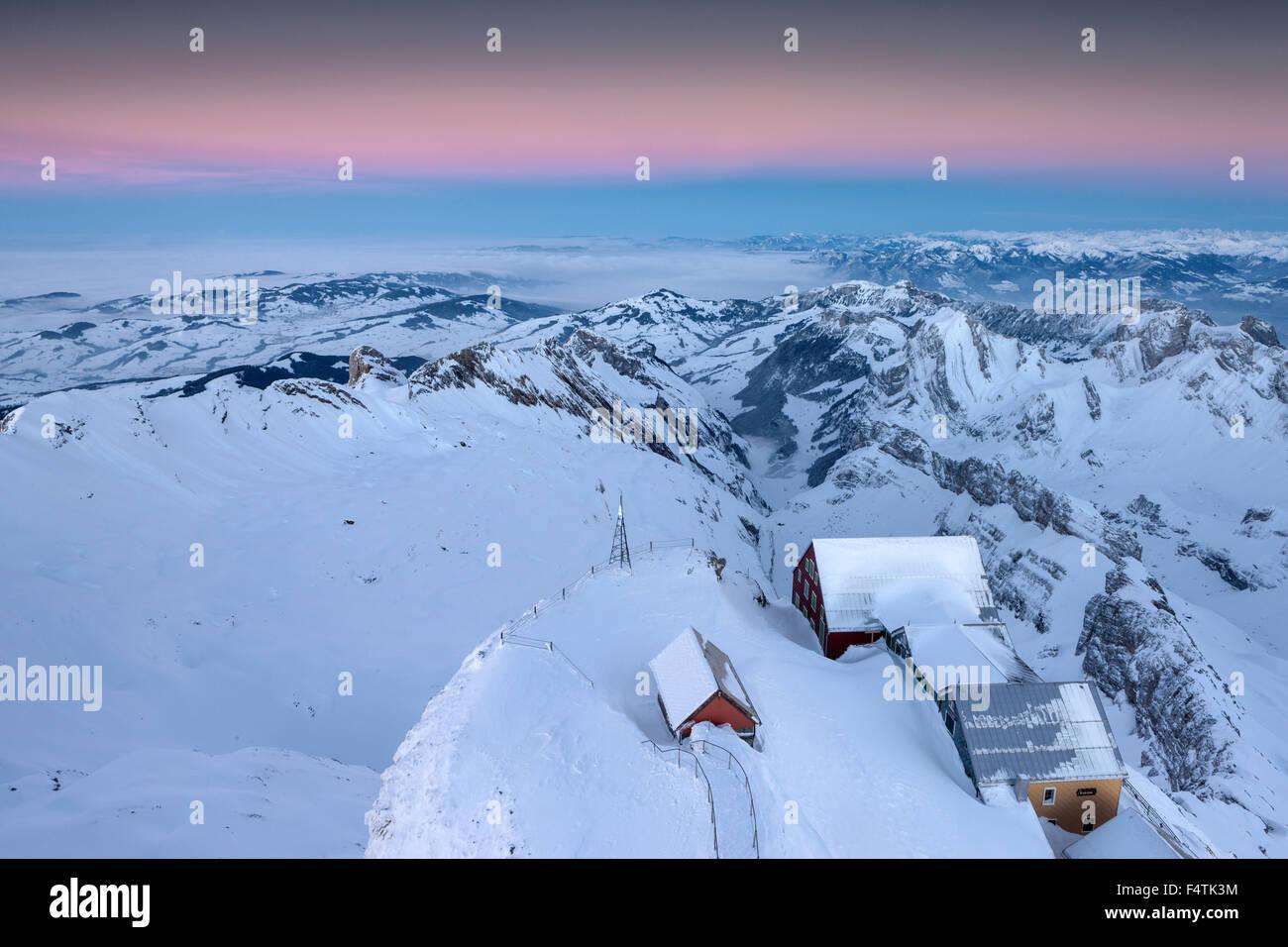 Ansicht, Vista, Säntis, Schweiz, Kanton Appenzell, Appenzell Innerrhoden, Alpstein, Inn, Alter Säntis, Stockbild