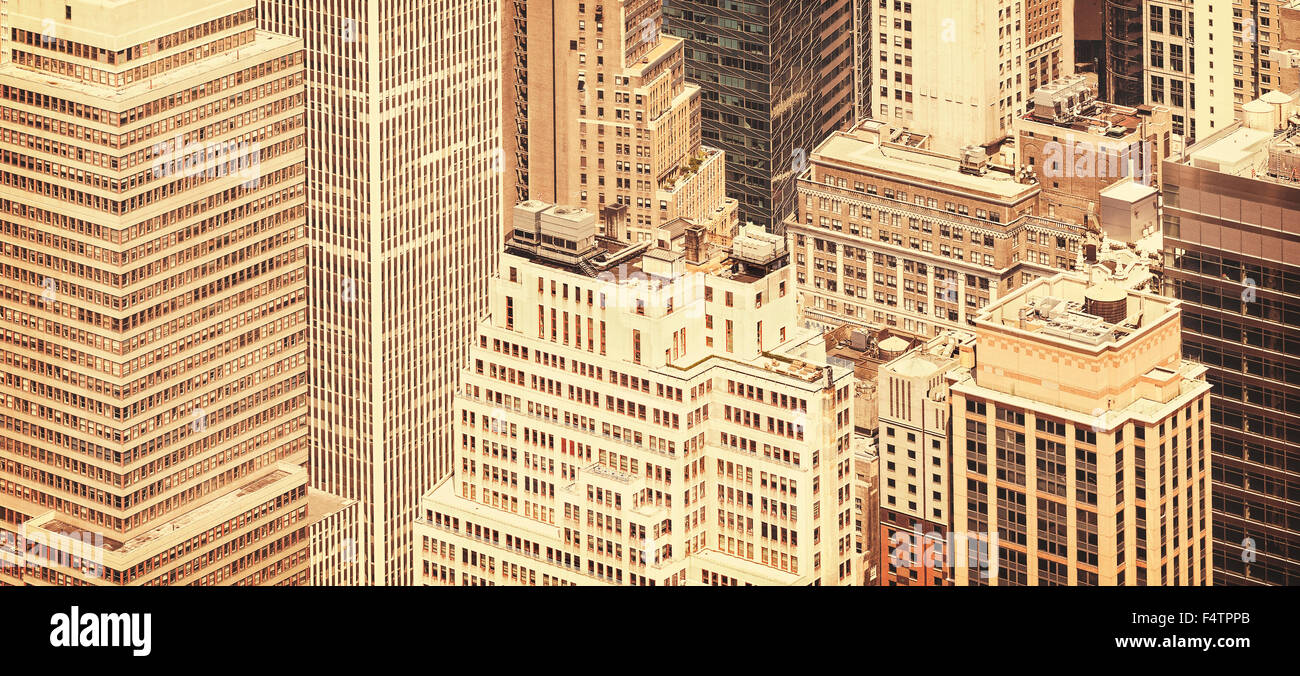 Retro Stil Panoramablick Auf Manhattan Windows New York City Usa
