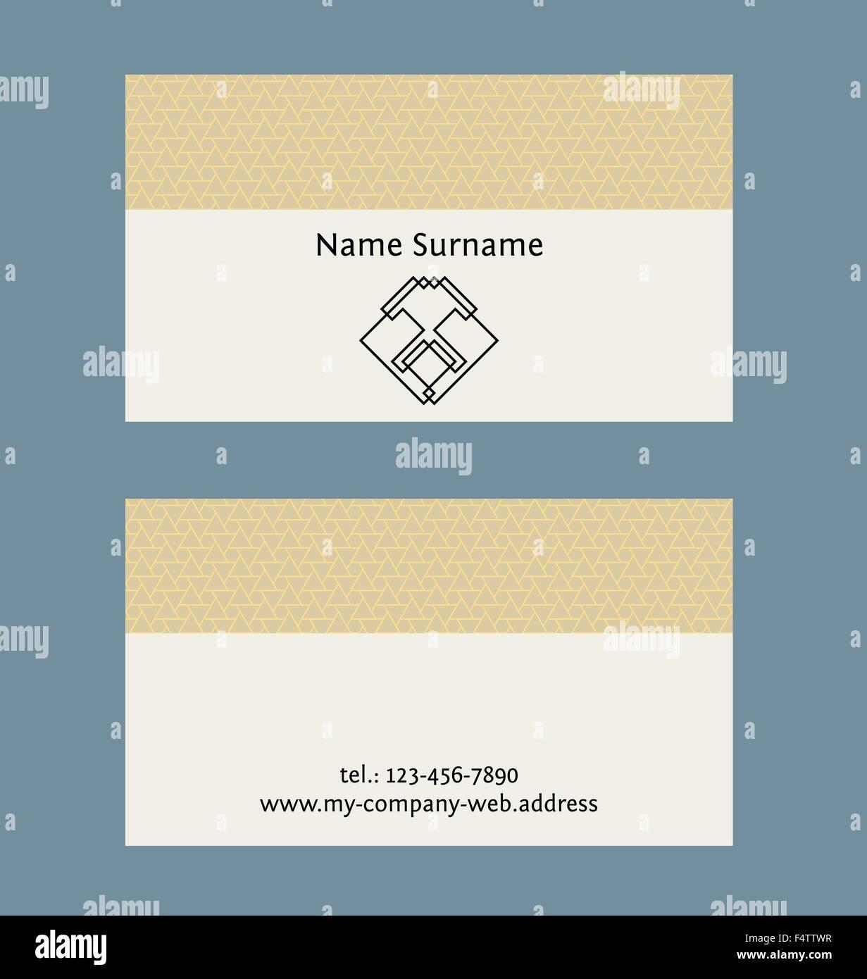 Visitenkarten-Layout. Lineare geometrische Logo und Muster ...