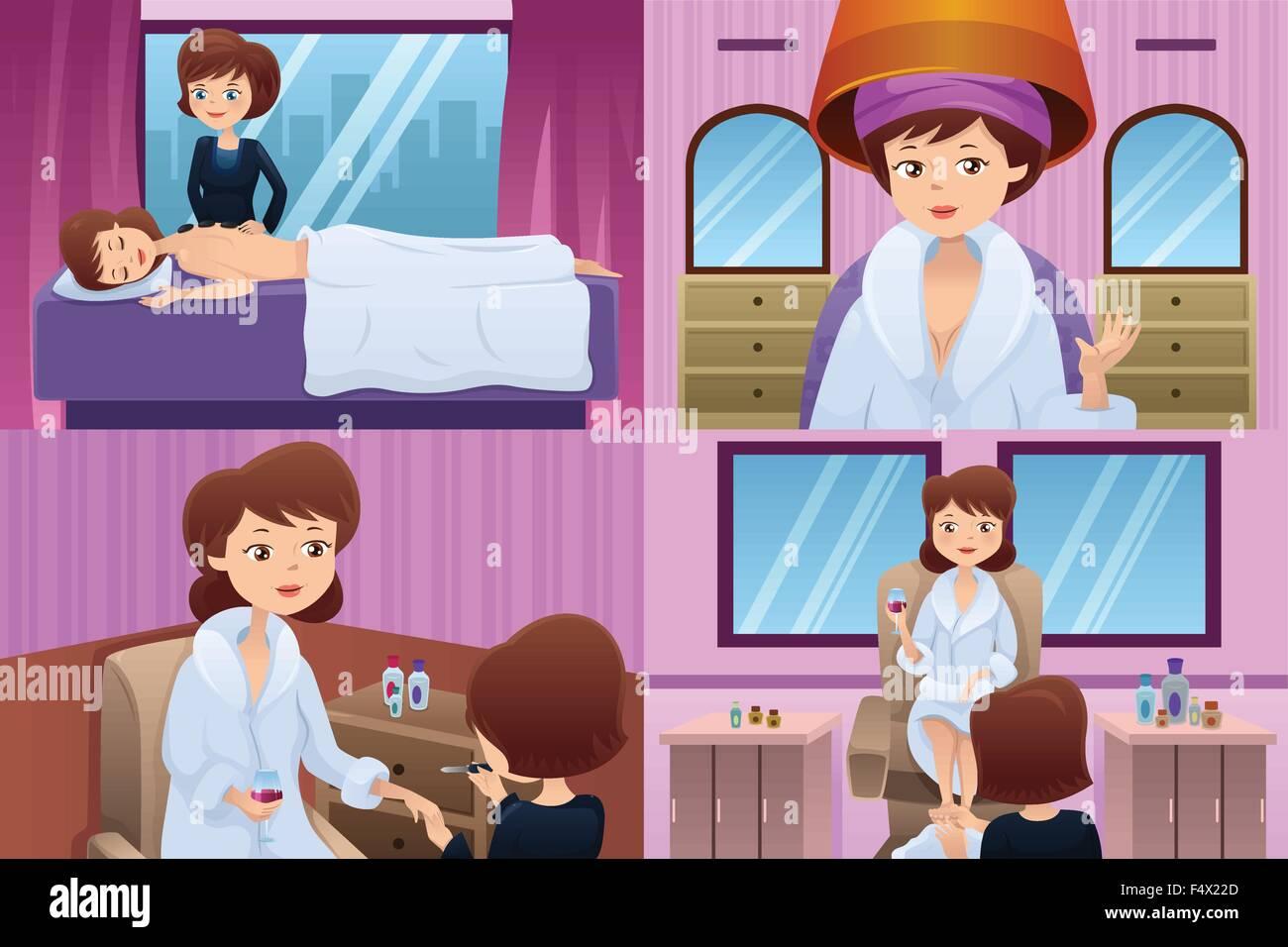 Illustration Woman Applying Nail Polish Stockfotos Illustration