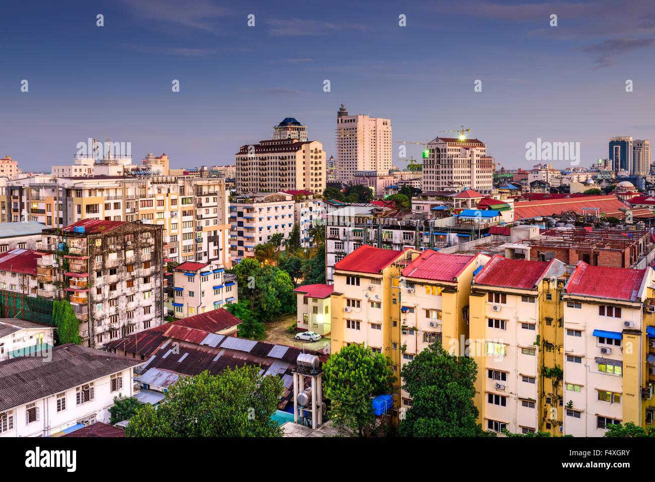 Die Innenstadt von Skyline von Yangon, Myanmar. Stockbild
