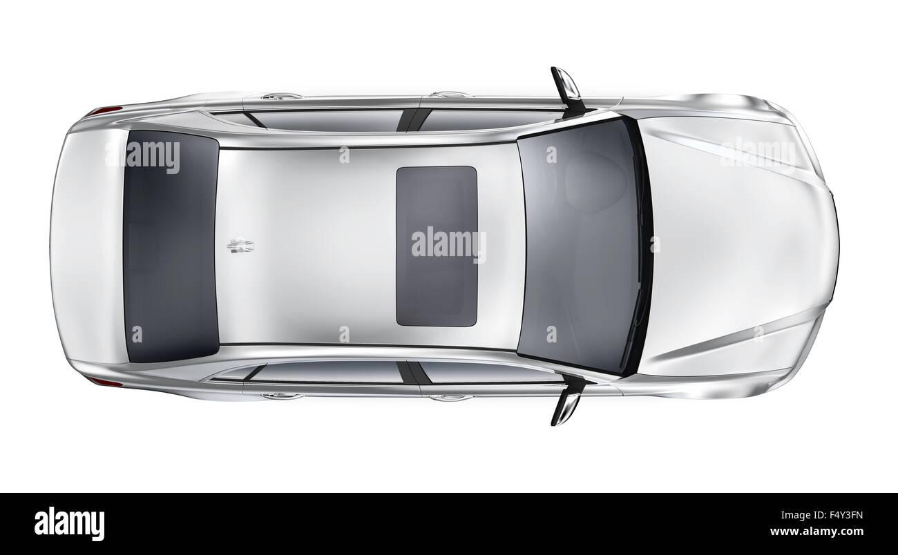 Silberne auto draufsicht stockfoto bild 89105961 alamy - Voiture vue de haut ...
