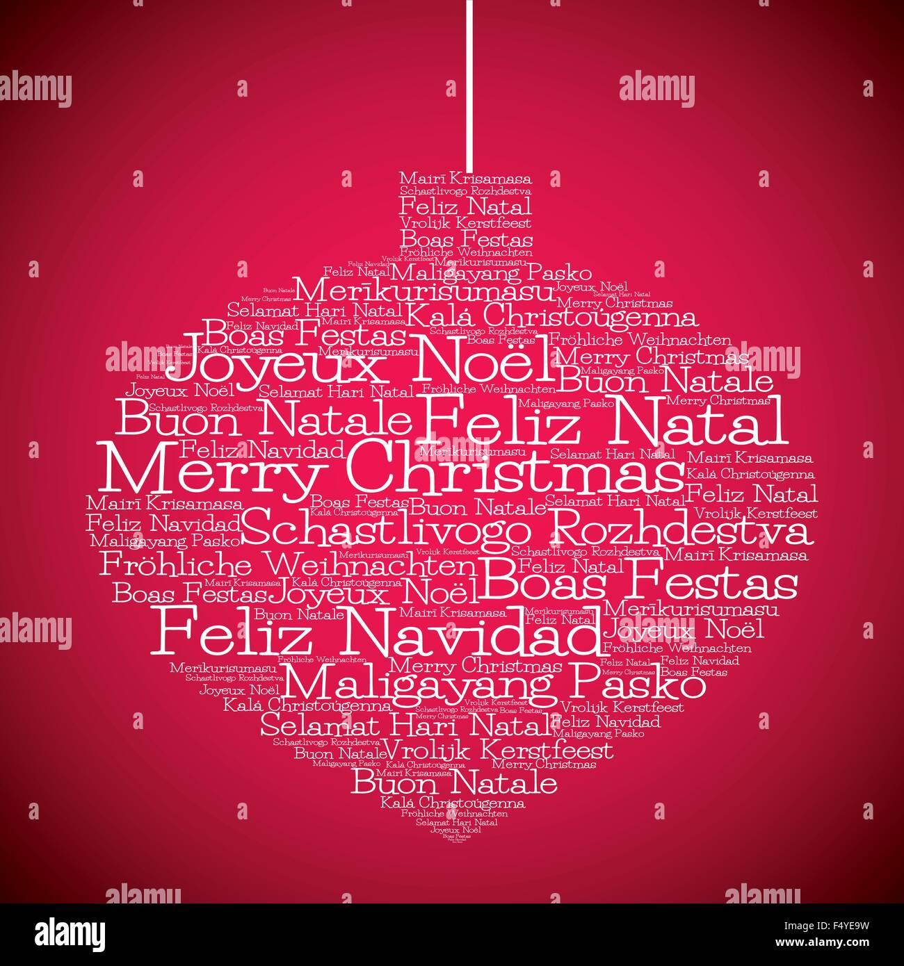 Frohe Weihnachten Auf Allen Sprachen.Weihnachtskugel Aus Frohe Weihnachten In Verschiedenen Sprachen Im