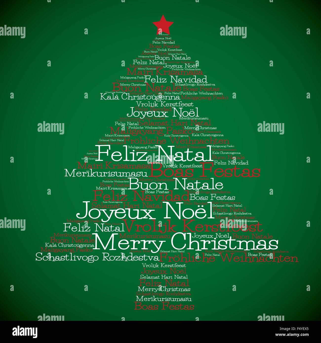 Frohe Weihnachten Auf Allen Sprachen.Weihnachtsbaum Aus Frohe Weihnachten In Verschiedenen Sprachen Im