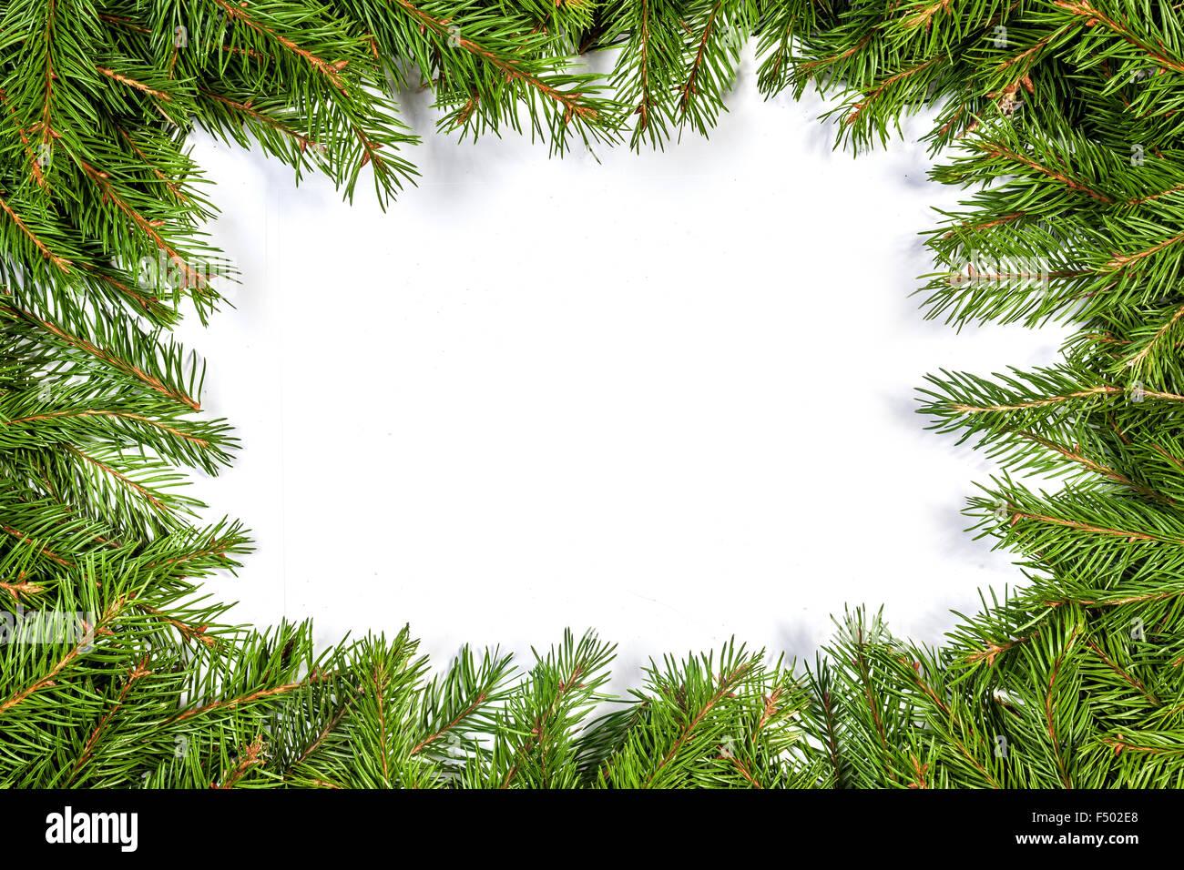 Weihnachten grün Rahmen isoliert auf weißem Hintergrund Stockfoto ...