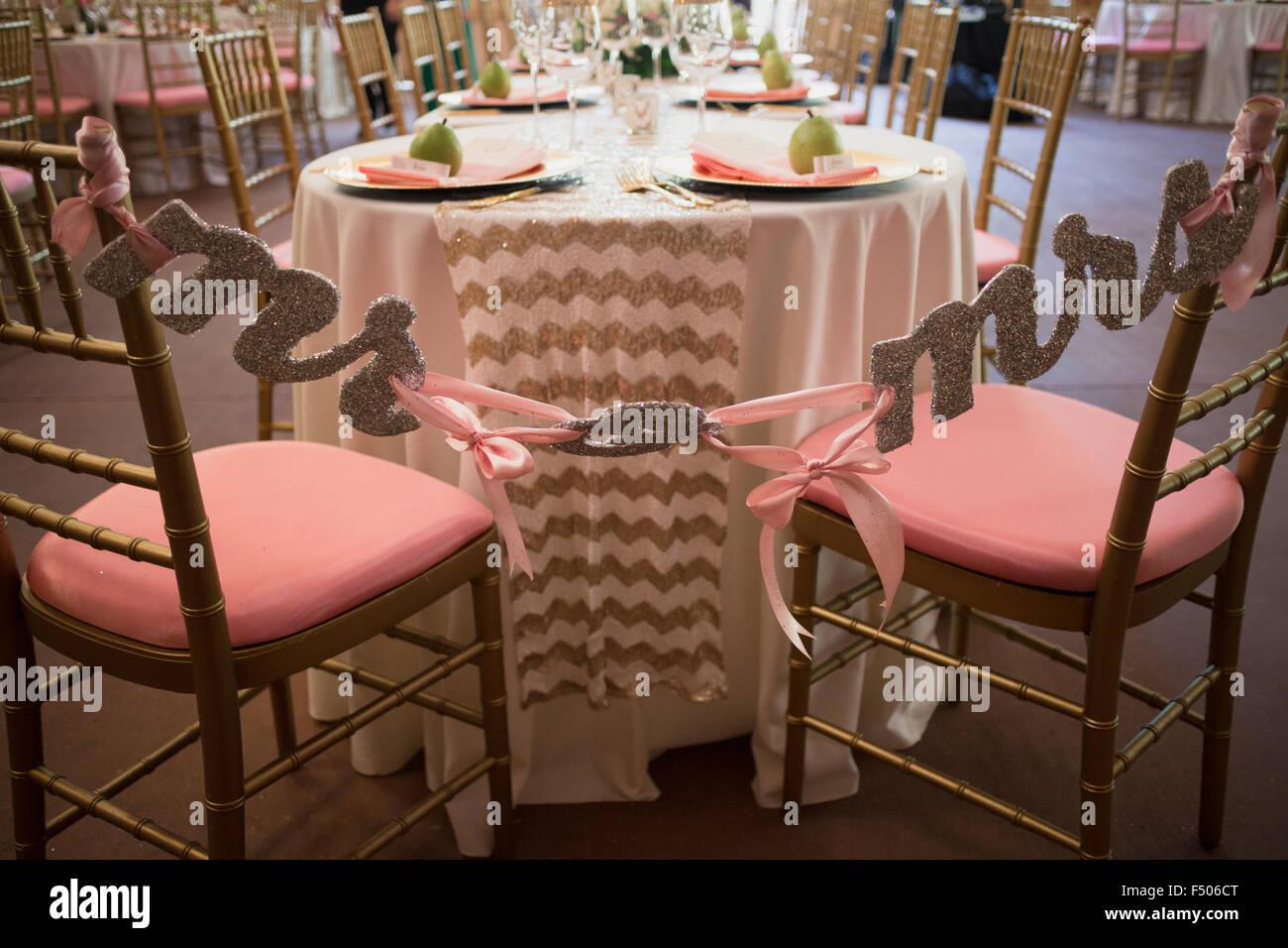 Herr und Frau Hochzeit Dekorationen Stockbild