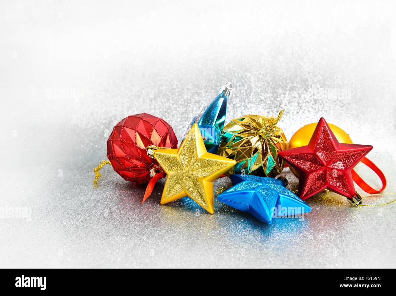 Weihnachts-Dekoration auf Glitzer Hintergrund Stockbild