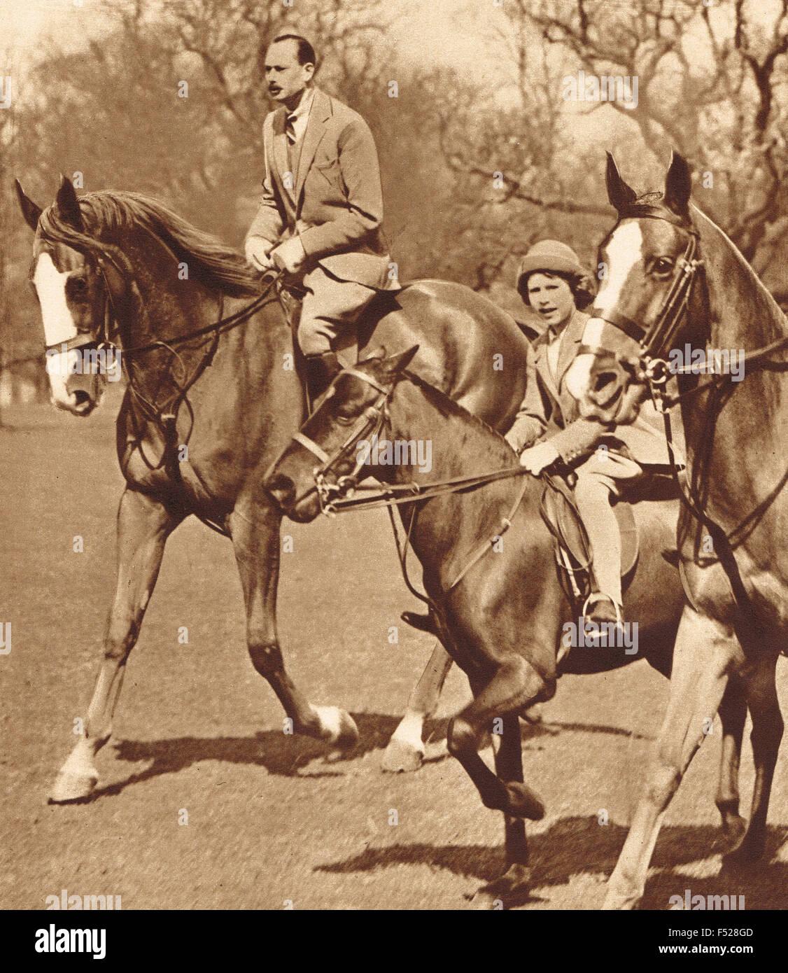 Prinzessin Elizabeth Reiten mit Duke Gloucster ca. 1936 Stockbild