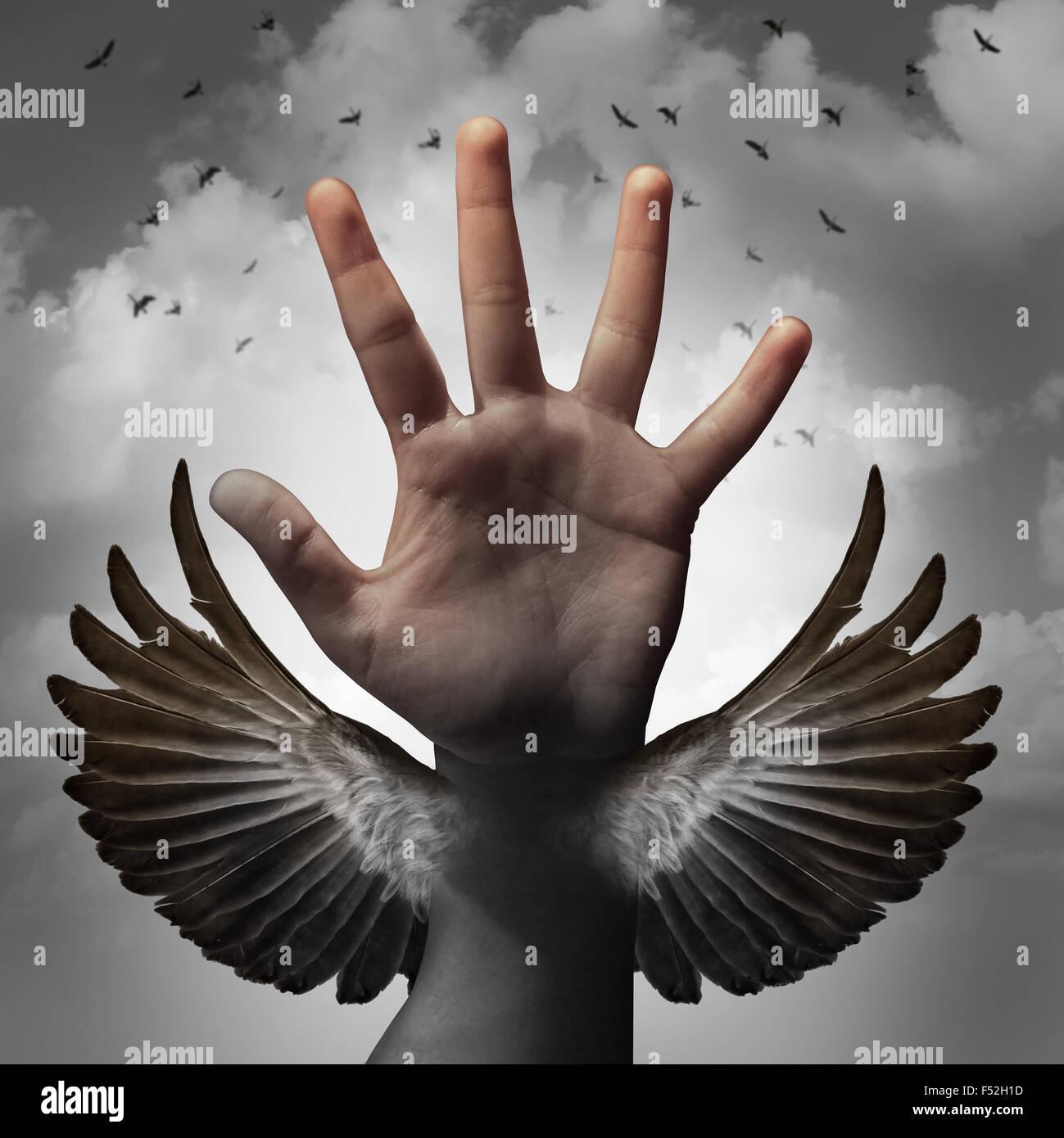 Bauen Selbstvertrauen Konzept und glauben an Inneres Potential als Mensch hand Umwandlung in einen Vogel Flügel Stockbild