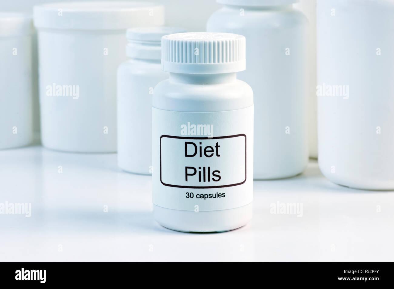 Weisse Diat Pille Container Mit Pille Container Im Hintergrund