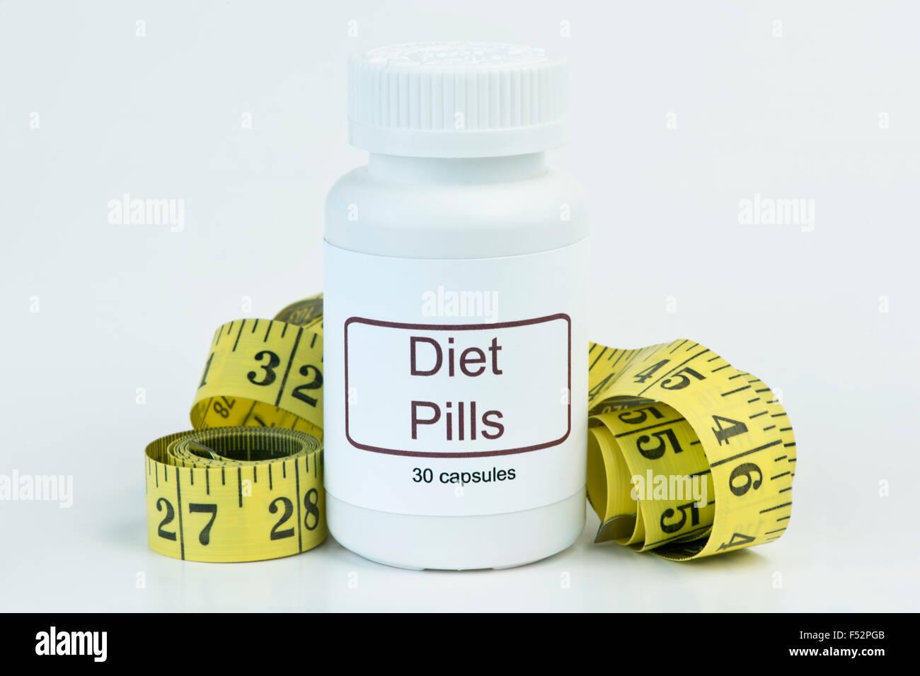 Container Von Diat Pillen Mit Gelben Massband Stockfoto Bild